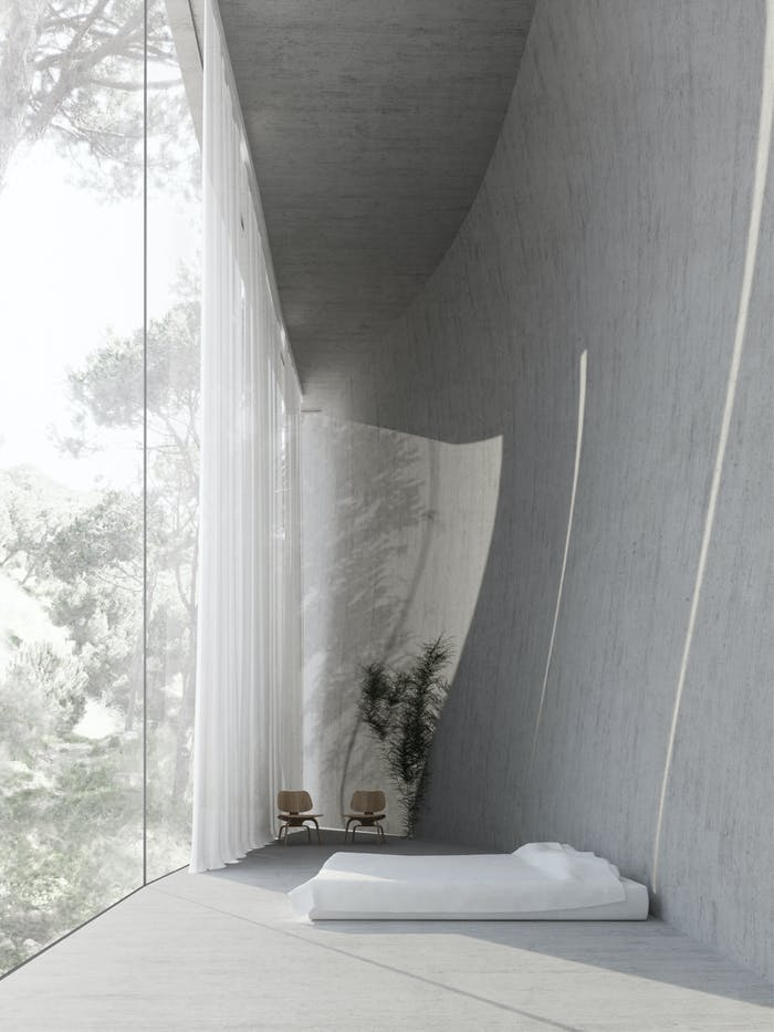 """Full-height window looking into the forest, great option to create a sense of risk in a biophilic design.<span class=""""sr-only""""> (opened in a new window/tab)</span>"""