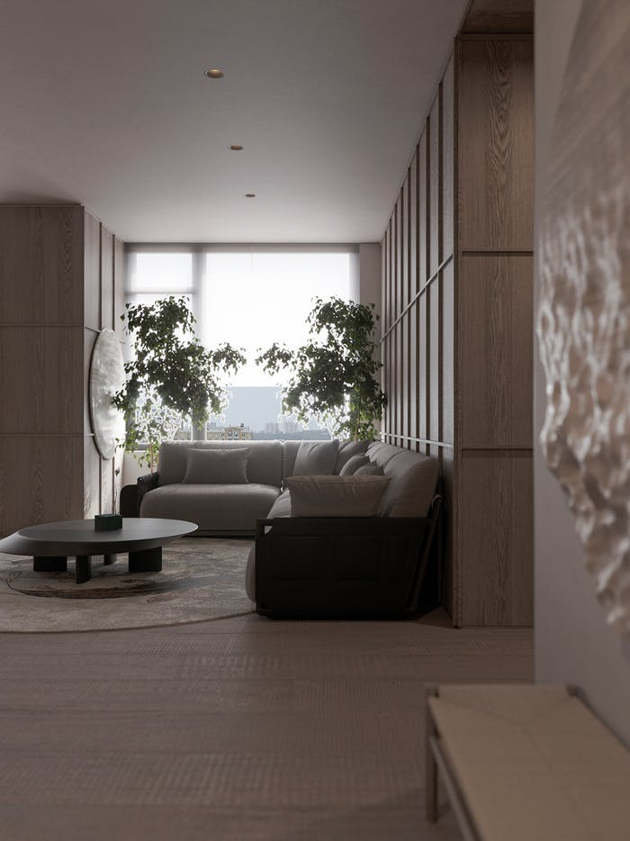 """Biophilic living room corner with plenty of textures and a big plant screening the window.<span class=""""sr-only""""> (opened in a new window/tab)</span>"""