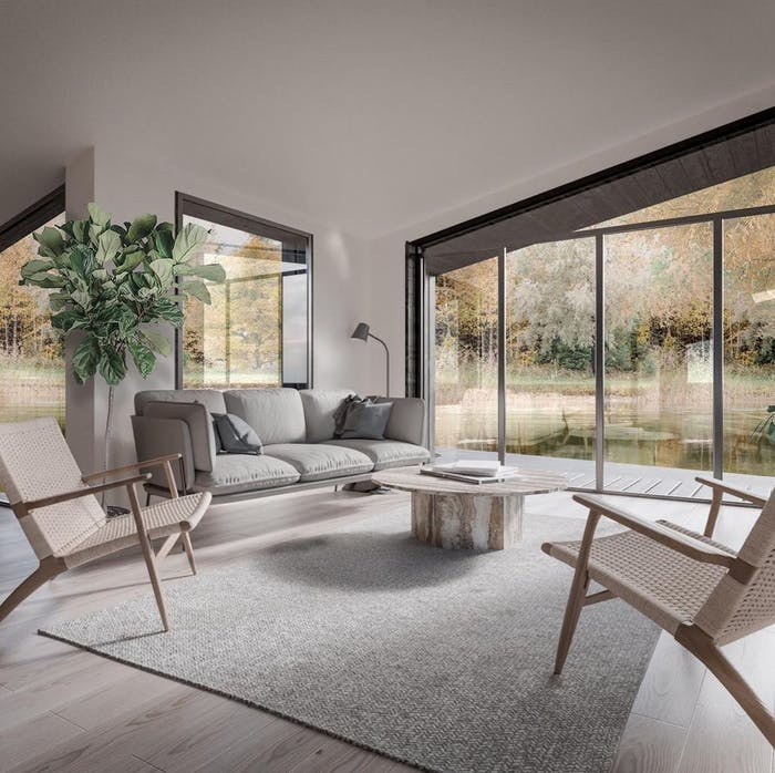 """Biophilic living area with plenty of natural light.<span class=""""sr-only""""> (opened in a new window/tab)</span>"""
