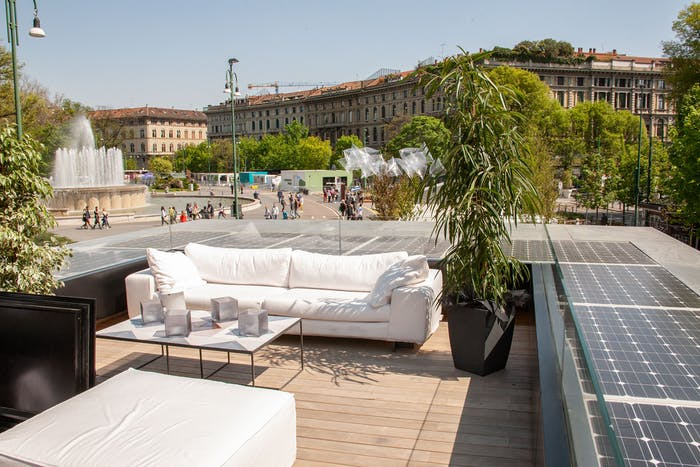 """The roof terrace of Genesi House, an example of sustainable living and energy efficiency.<span class=""""sr-only""""> (opened in a new window/tab)</span>"""