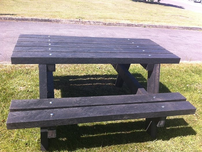 "A picnic bench-and-table set made with plastic timber poles.<span class=""sr-only""> (opened in a new window/tab)</span>"