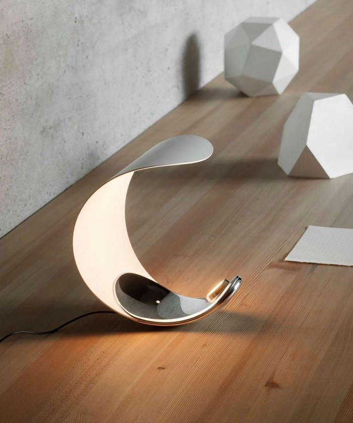 """Small table lamp with a curl shape.<span class=""""sr-only""""> (opened in a new window/tab)</span>"""