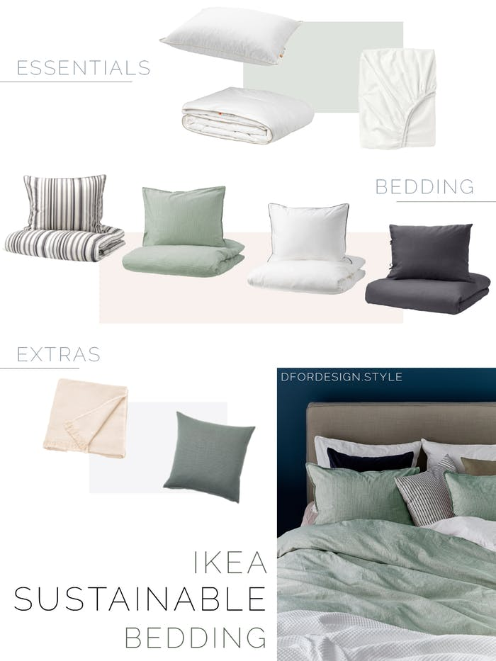 "Moodboard showing a variety of sustainable products for the bedroom: from quilts and fitted sheets, to bedding, to throws and decorative cushions.<span class=""sr-only""> (opened in a new window/tab)</span>"