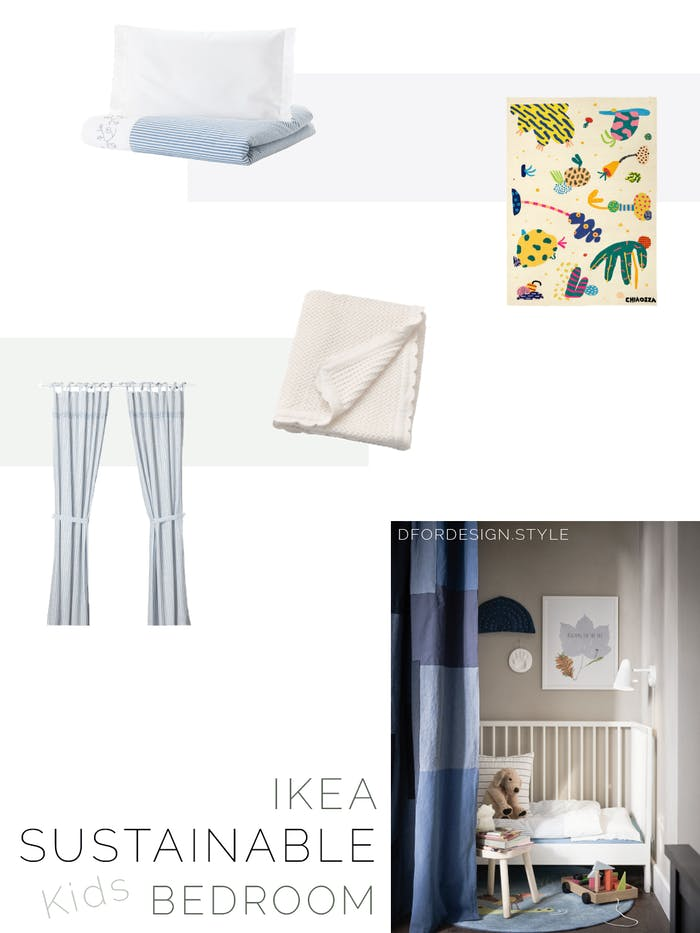"Moodboard showing a variety of sustainable textiles for kids' bedrooms.<span class=""sr-only""> (opened in a new window/tab)</span>"