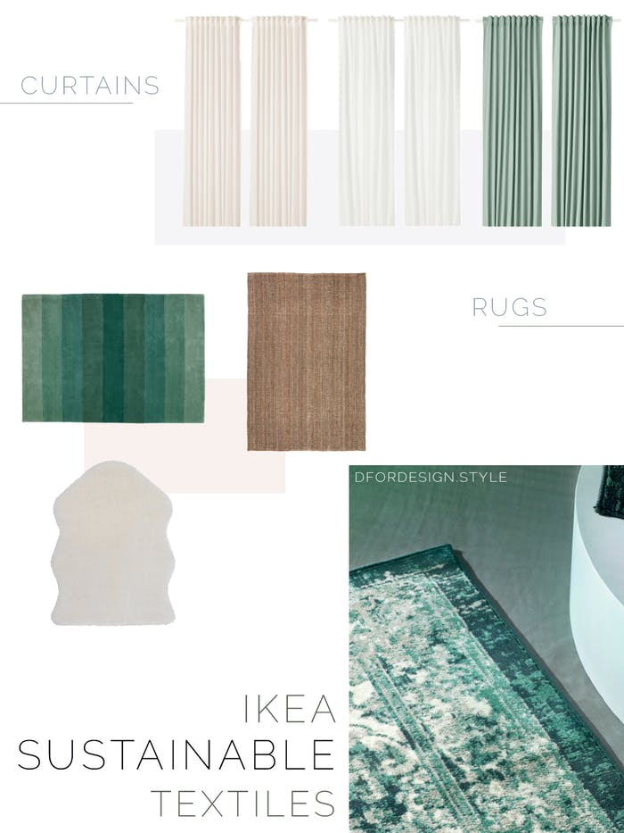 "Moodboard showing a variety of sustainable curtains and rugs.<span class=""sr-only""> (opened in a new window/tab)</span>"