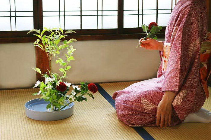 """Woman arranging flowers in an Ikebana composition.<span class=""""sr-only""""> (opened in a new window/tab)</span>"""