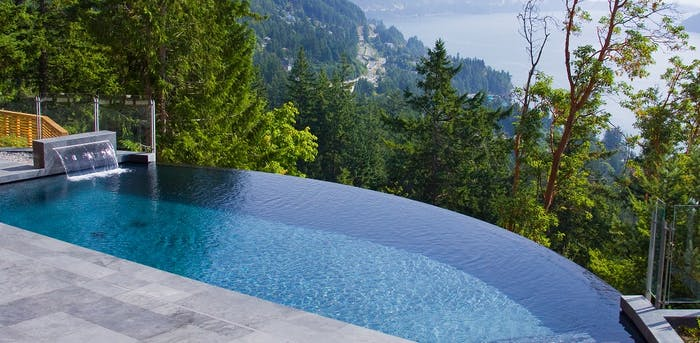 """Infinity pool, great option to create a sense of risk in a biophilic design.<span class=""""sr-only""""> (opened in a new window/tab)</span>"""