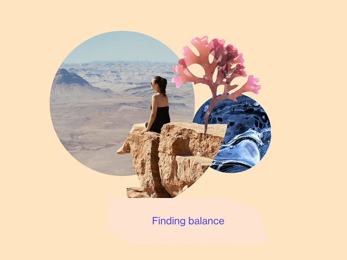 """""""Finding balance"""" graphic representing images of nature and a relaxed woman.<span class=""""sr-only""""> (opened in a new window/tab)</span>"""