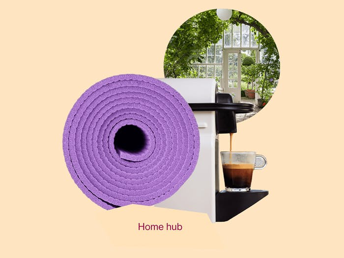 """""""Home hub"""" graphic representing a yoga mat, a coffee machine and a room full of greenery.<span class=""""sr-only""""> (opened in a new window/tab)</span>"""