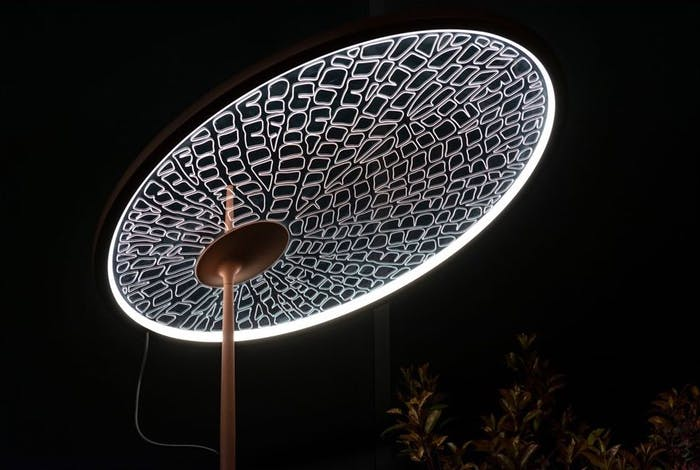 "Lamp whose lighting surface reproduced the pattern of a leaf.<span class=""sr-only""> (opened in a new window/tab)</span>"