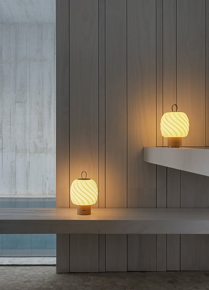 """Portable table lamps with porcelain shade shaped in the form of a fluffy ice cream.<span class=""""sr-only""""> (opened in a new window/tab)</span>"""