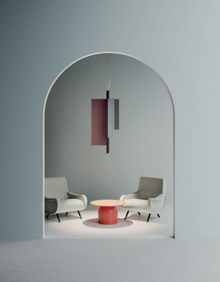 """Cylindrical pendant light with three sound-absorbing panels mounted around the main structure.<span class=""""sr-only""""> (opened in a new window/tab)</span>"""
