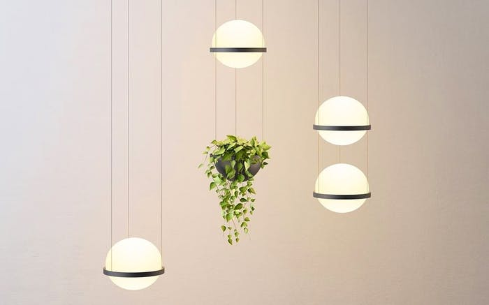 "Pendant light with integrated planters.<span class=""sr-only""> (opened in a new window/tab)</span>"