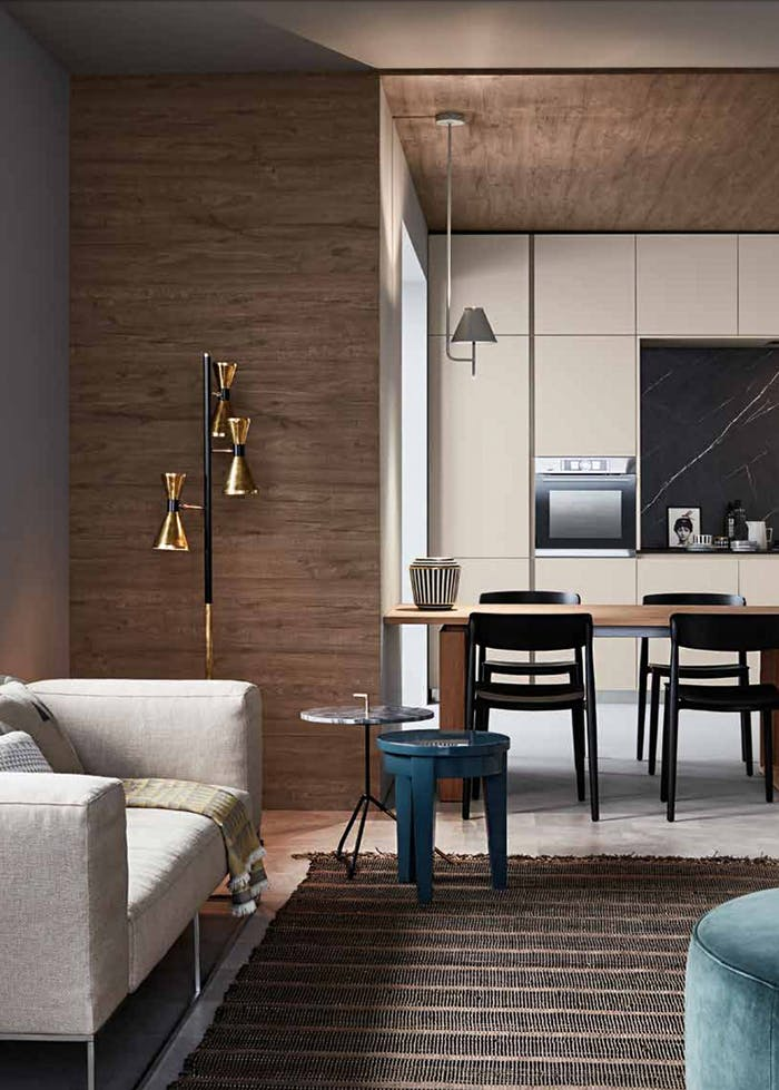 """Contemporary kitchen-dining area with walls covered in Rewood panels with wood texture.<span class=""""sr-only""""> (opened in a new window/tab)</span>"""