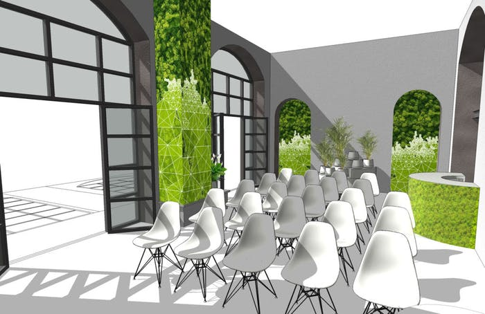 "Rendering of the exposition area with plants and vertical gardens walls.<span class=""sr-only""> (opened in a new window/tab)</span>"