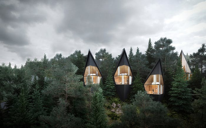 """View of treehouses showing their total immersion in the forest.<span class=""""sr-only""""> (opened in a new window/tab)</span>"""
