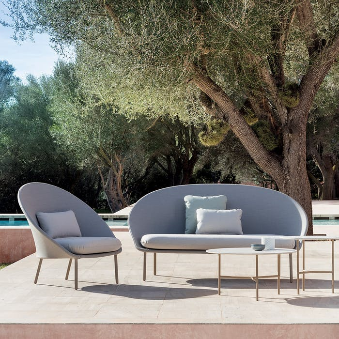 "Outdoor sofa and chair with a curved profile.<span class=""sr-only""> (opened in a new window/tab)</span>"