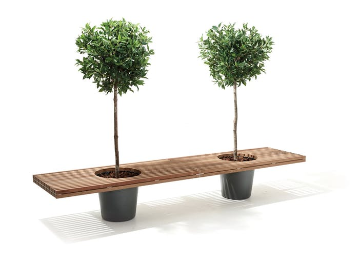 "Wooden bench with two integrated planters.<span class=""sr-only""> (opened in a new window/tab)</span>"