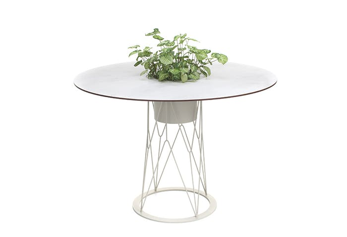 "Outdoor round table with integrated planter in the center.<span class=""sr-only""> (opened in a new window/tab)</span>"
