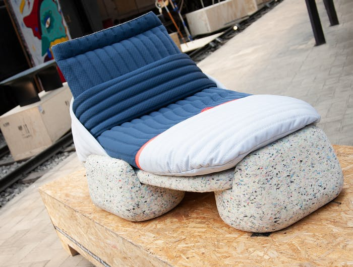 """Daybed with recycled plastic base and fabrics; one of the plastic recycling design projects joining the Guiltless Plastic Initiative.<span class=""""sr-only""""> (opened in a new window/tab)</span>"""