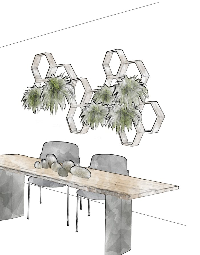 """Biophilic design concept for a dining room with an hexagonal shelving unit displaying draping plants.<span class=""""sr-only""""> (opened in a new window/tab)</span>"""