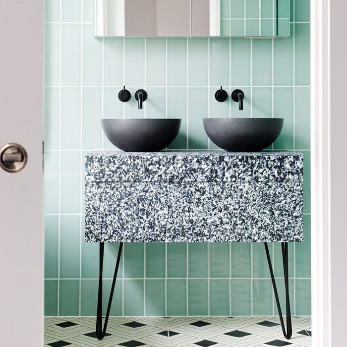 """A bathroom vanity made with a recycled plastic composite.<span class=""""sr-only""""> (opened in a new window/tab)</span>"""