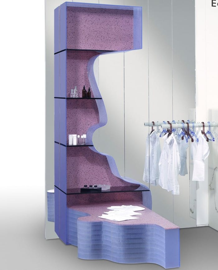 """A retail shelving system made of colourful sheets of recycled plastic.<span class=""""sr-only""""> (opened in a new window/tab)</span>"""