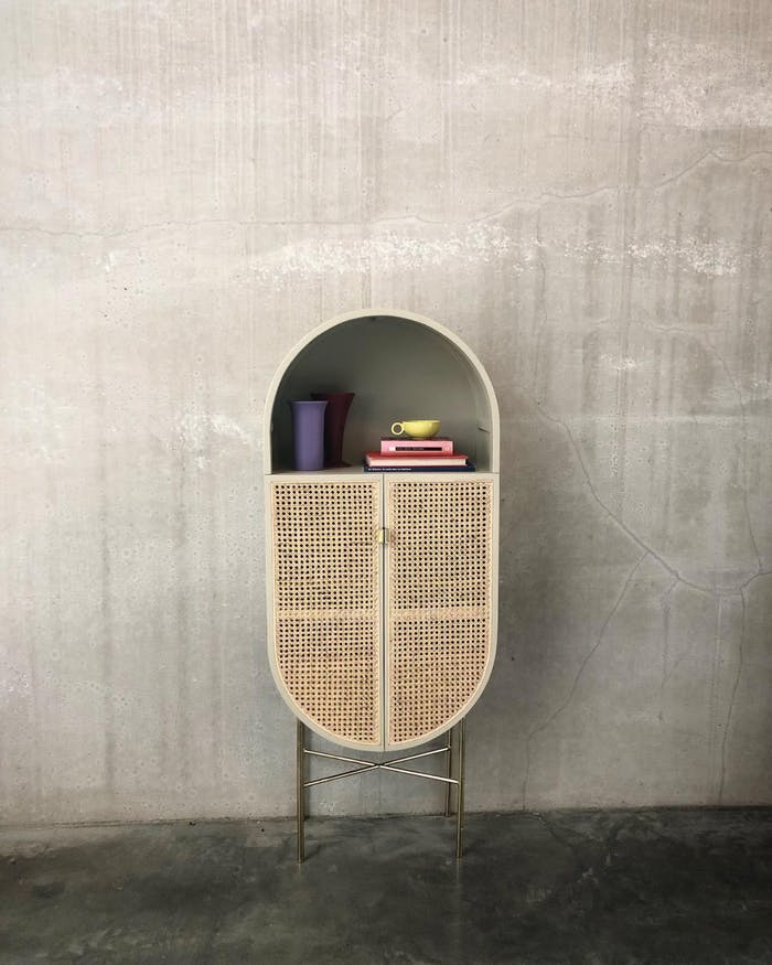 """Retro cabinet, example of modern Vienna straw design by HK Living.<span class=""""sr-only""""> (opened in a new window/tab)</span>"""