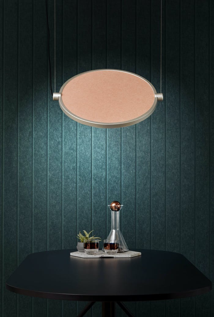 """An acoustic panel used as a decorative wall finish. With its teal colour and striped texture it substitutes a wallpaper perfectly.<span class=""""sr-only""""> (opened in a new window/tab)</span>"""