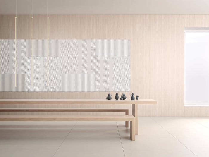 "A minimal room with acoustic panels used in place of a big artwork, a proof that silence is becoming an interior design trend.<span class=""sr-only""> (opened in a new window/tab)</span>"