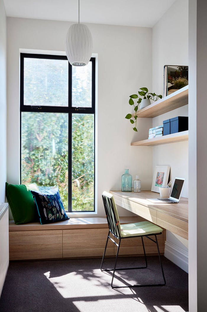 "Contemporary home office full of sunlight and with minimal furniture.<span class=""sr-only""> (opened in a new window/tab)</span>"