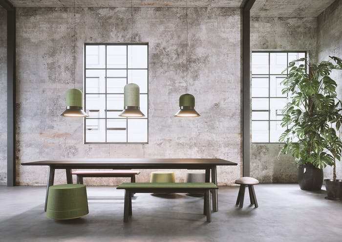 """Dining room with soudproofing pendant lights above the table.<span class=""""sr-only""""> (opened in a new window/tab)</span>"""