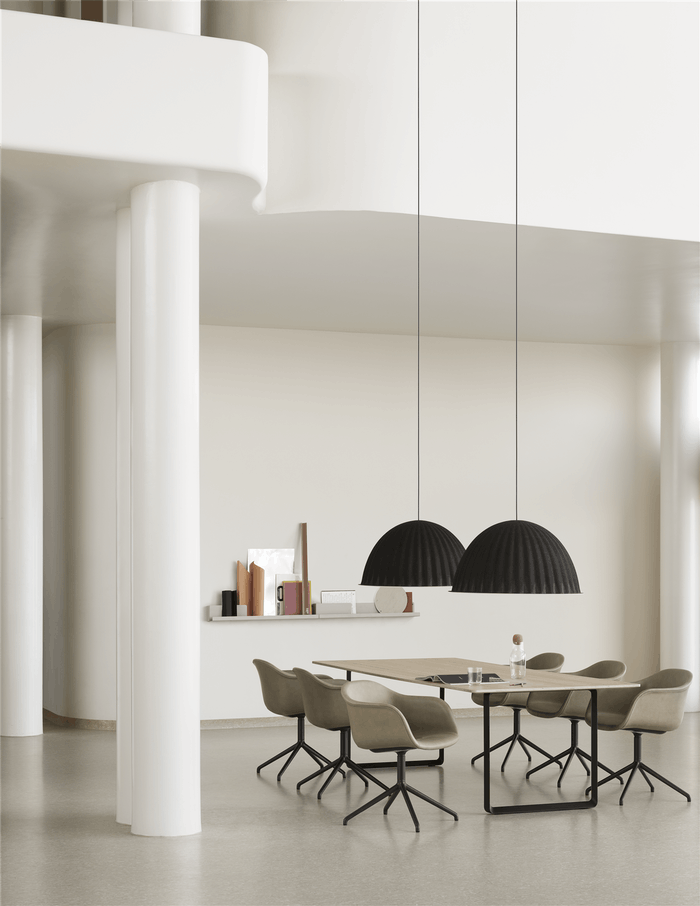 "Minimal dining room with huge soudproofing pendant lights above the table.<span class=""sr-only""> (opened in a new window/tab)</span>"
