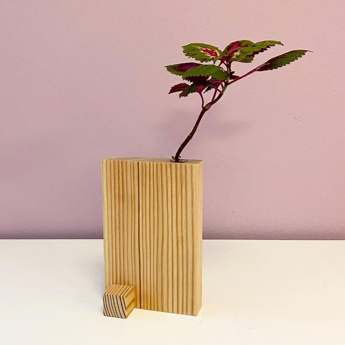 """Vase made with wood offcuts.<span class=""""sr-only""""> (opened in a new window/tab)</span>"""