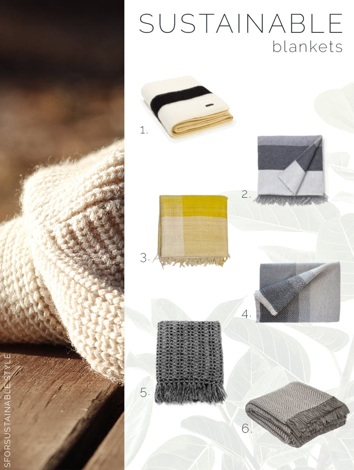 """Moodboard showing a warm texture of wool and 6 sustainable blankets.<span class=""""sr-only""""> (opened in a new window/tab)</span>"""