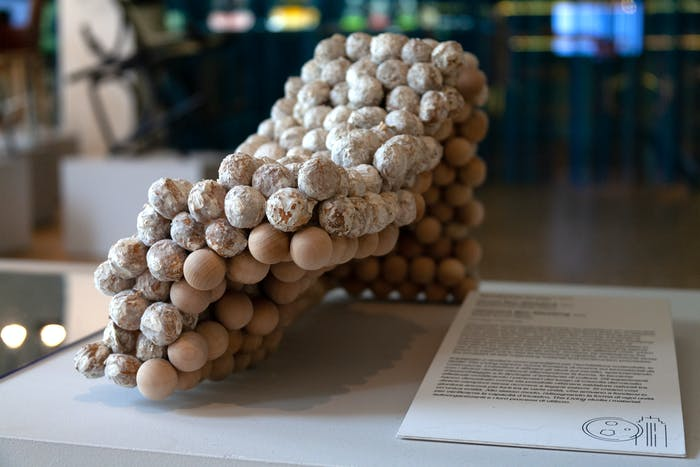 """Wood balls held together by Voxel bio welding.<span class=""""sr-only""""> (opened in a new window/tab)</span>"""