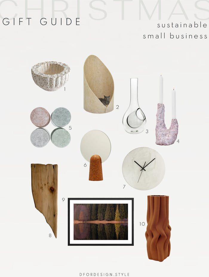 "Moodboard showcasing 10 sustainable gift ideas for the home.<span class=""sr-only""> (opened in a new window/tab)</span>"