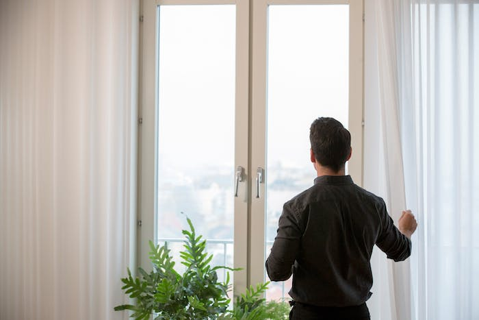 """IKEA GUNRID white curtains on a large window.<span class=""""sr-only""""> (opened in a new window/tab)</span>"""