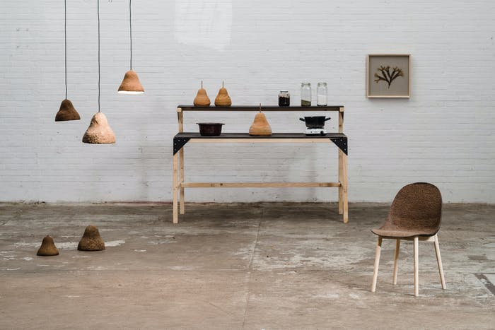 """Chairs and pendant lamps made of seaweeds & paper styled in a room.<span class=""""sr-only""""> (opened in a new window/tab)</span>"""