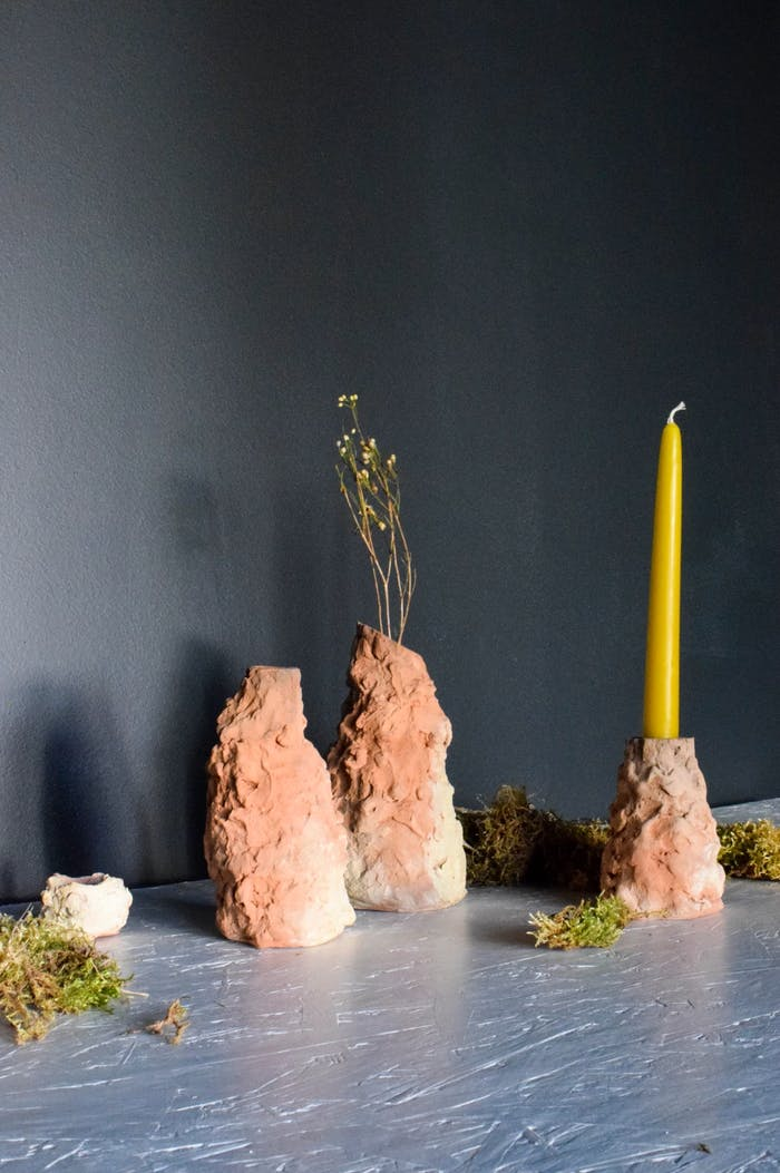 """Sustainable candleholders and vases made of ocean sediment.<span class=""""sr-only""""> (opened in a new window/tab)</span>"""