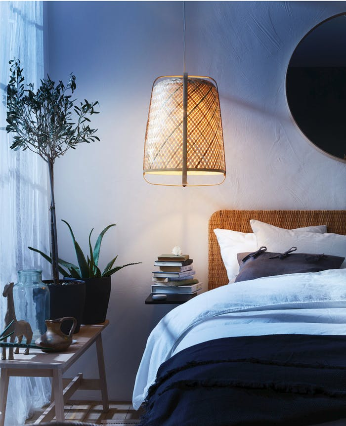 "Bamboo pendant lamp in a blue bedroom.<span class=""sr-only""> (opened in a new window/tab)</span>"