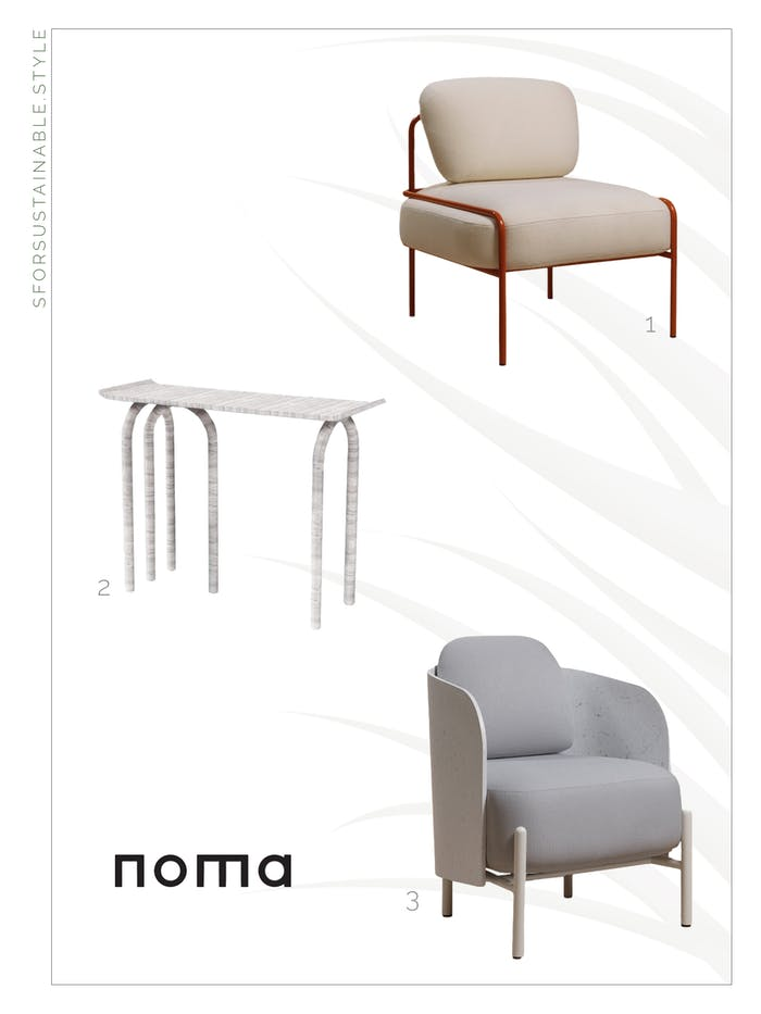 """Moodboard with two chairs and a console by NOMA.<span class=""""sr-only""""> (opened in a new window/tab)</span>"""
