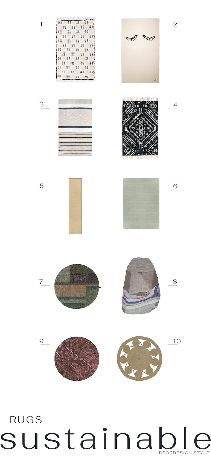 """Moodboard showcasing 10 sustainable rugs.<span class=""""sr-only""""> (opened in a new window/tab)</span>"""
