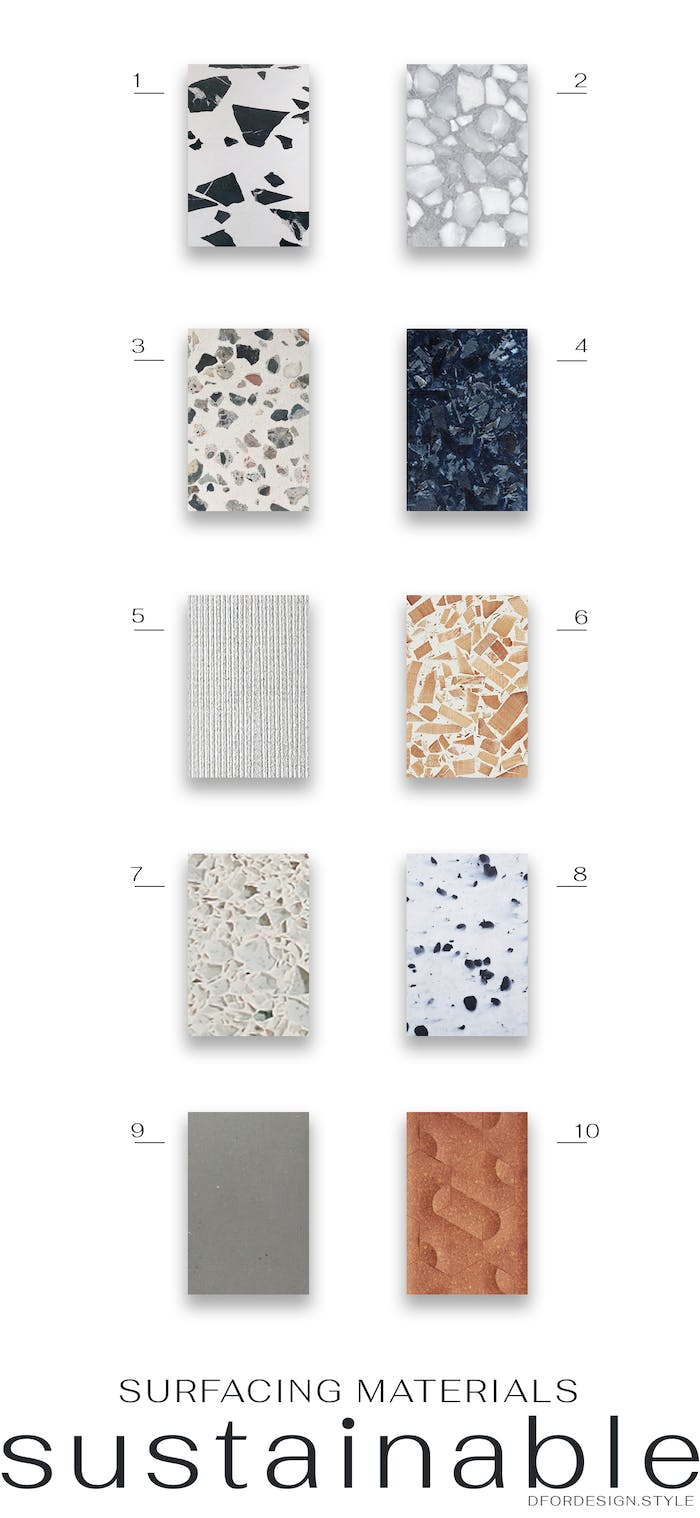 """Moodboard displaying samples of the 10 sustainable surfacing materials.<span class=""""sr-only""""> (opened in a new window/tab)</span>"""