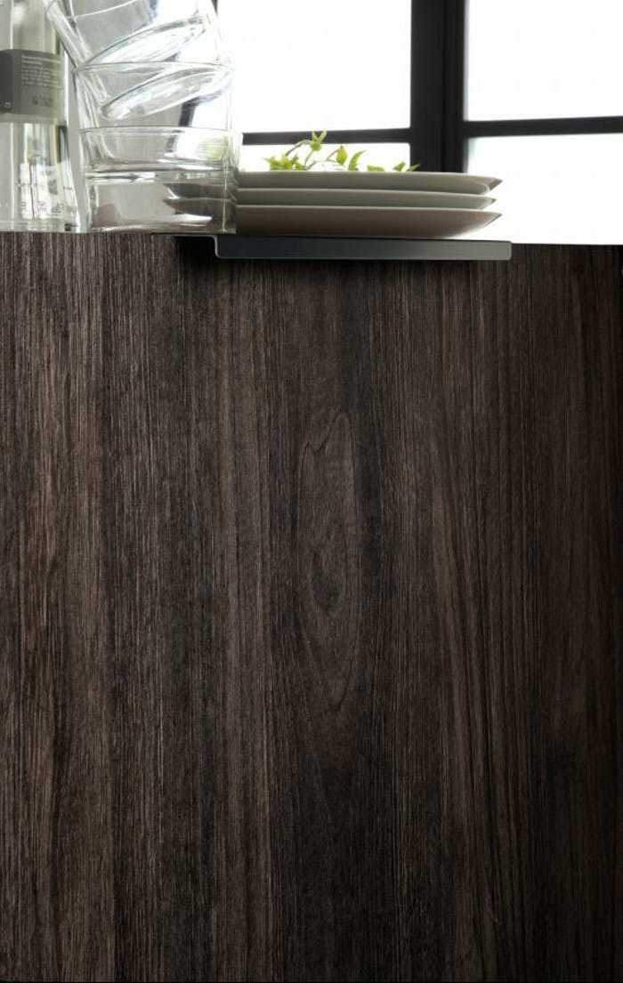 """Close up of kitchen cabinet with recycled wood front.<span class=""""sr-only""""> (opened in a new window/tab)</span>"""