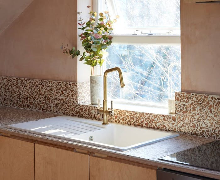 "Kitchen with recycled wood backsplash.<span class=""sr-only""> (opened in a new window/tab)</span>"