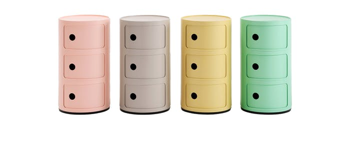 "Colourful storage units made with bioplastic.<span class=""sr-only""> (opened in a new window/tab)</span>"