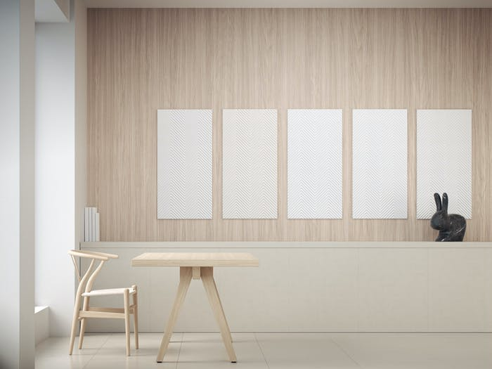 "Light wood wall with white acoustic panels hanging in line.<span class=""sr-only""> (opened in a new window/tab)</span>"