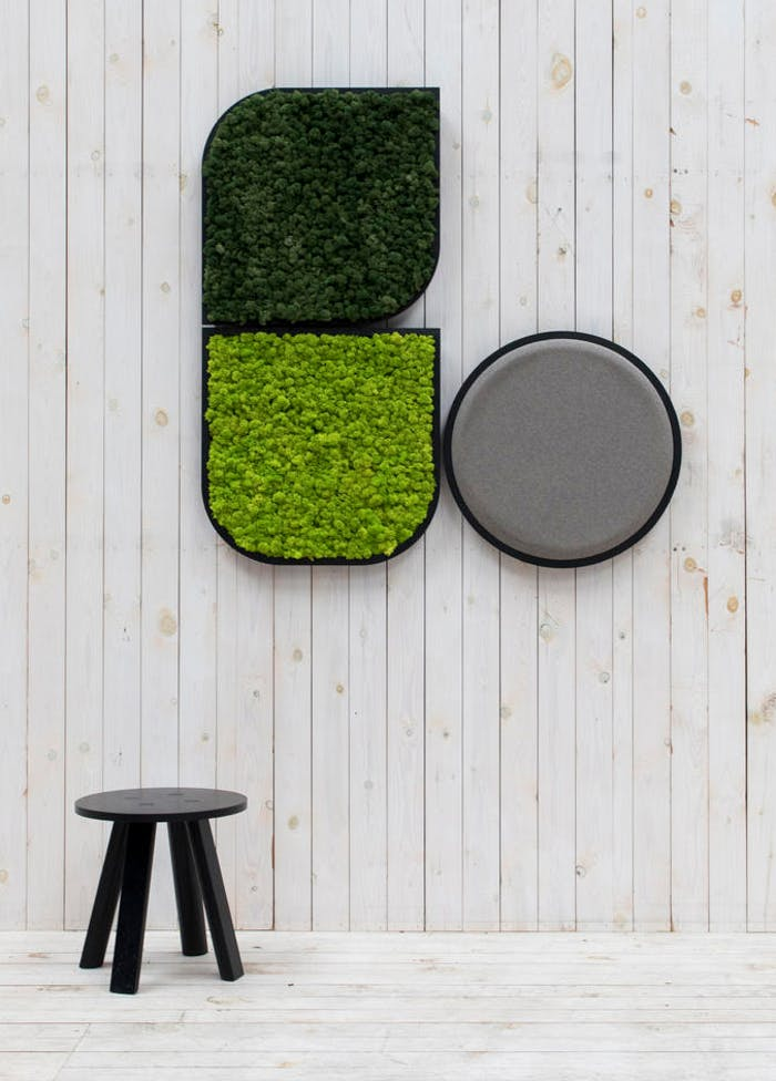 """A composition of acoustic moss panels on the wall.<span class=""""sr-only""""> (opened in a new window/tab)</span>"""