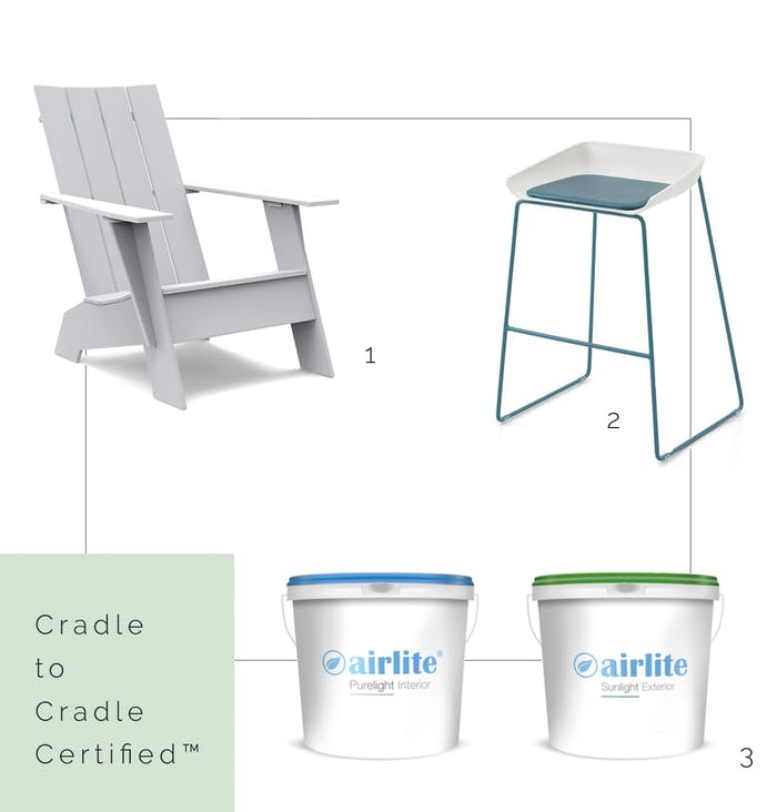 """Cradle to Cradle Certified™ lounge chair, stool and paint.<span class=""""sr-only""""> (opened in a new window/tab)</span>"""